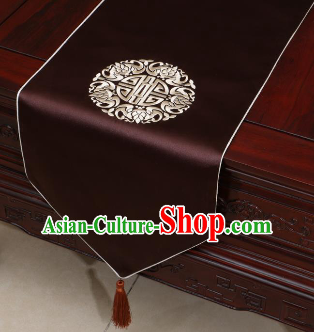 Chinese Classical Embroidered Brown Brocade Table Flag Traditional Satin Household Ornament Table Cover