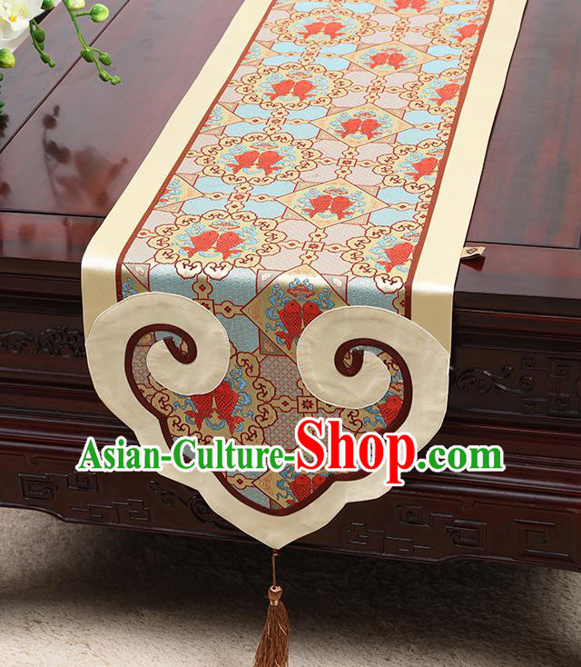 Chinese Classical Double Fishes Pattern Satin Table Flag Traditional Brocade Household Ornament Table Cover