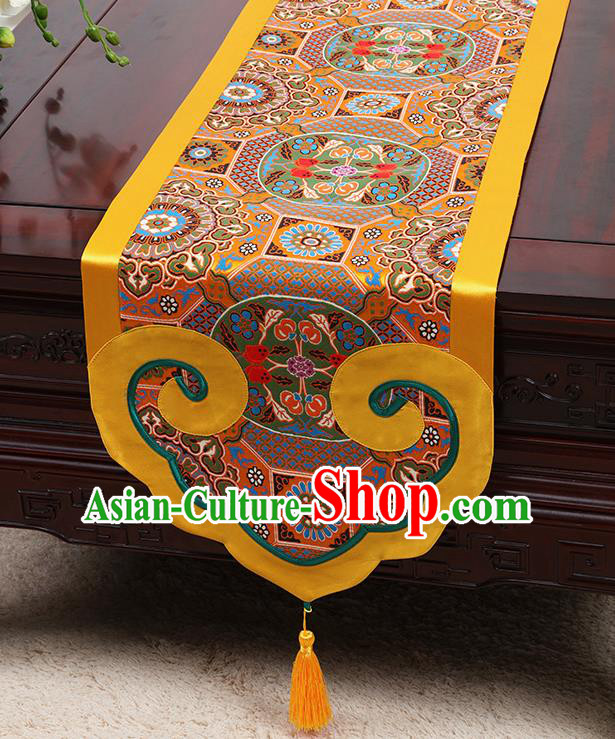 Chinese Classical Pattern Golden Satin Table Flag Traditional Brocade Household Ornament Table Cover