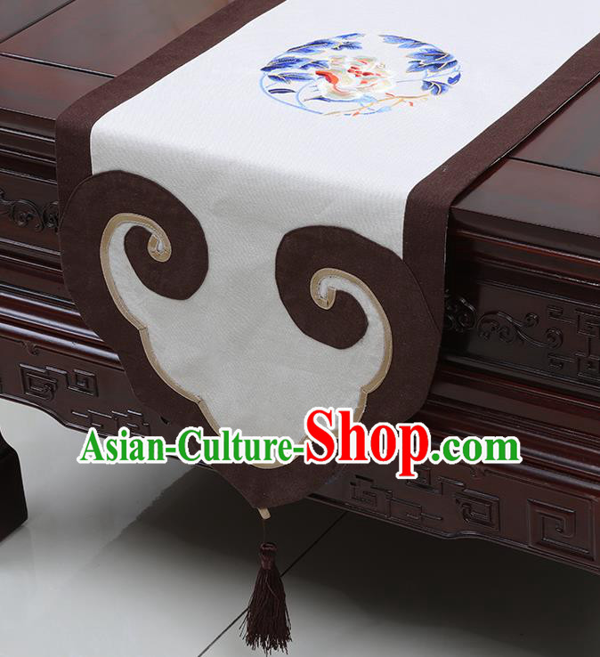 Chinese Classical Peony Pattern White Satin Table Flag Traditional Brocade Household Ornament Table Cover