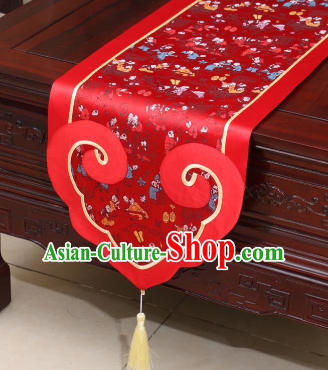 Chinese Classical Children Pattern Red Satin Table Flag Traditional Brocade Household Ornament Table Cover