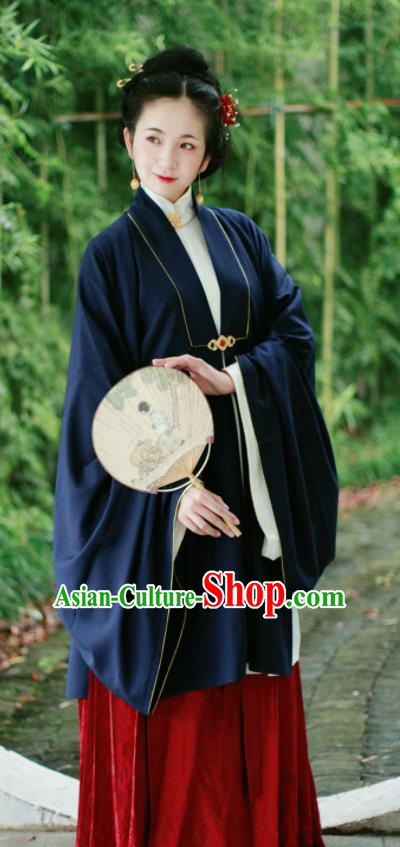 Chinese Ancient Dowager Navy Hanfu Dress Traditional Ming Dynasty Imperial Consort Historical Costume for Women