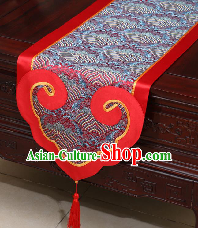 Chinese Classical Wave Pattern Red Satin Table Flag Traditional Brocade Household Ornament Table Cover