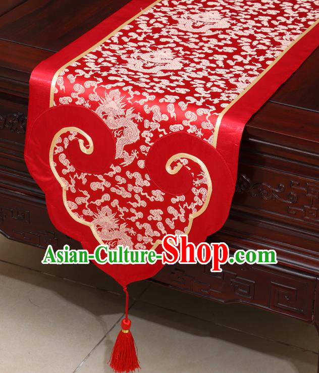 Chinese Classical Dragon Pattern Red Satin Table Flag Traditional Brocade Household Ornament Table Cover
