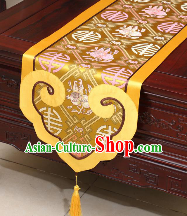 Chinese Classical Pomegranate Pattern Golden Satin Table Flag Traditional Brocade Household Ornament Table Cover