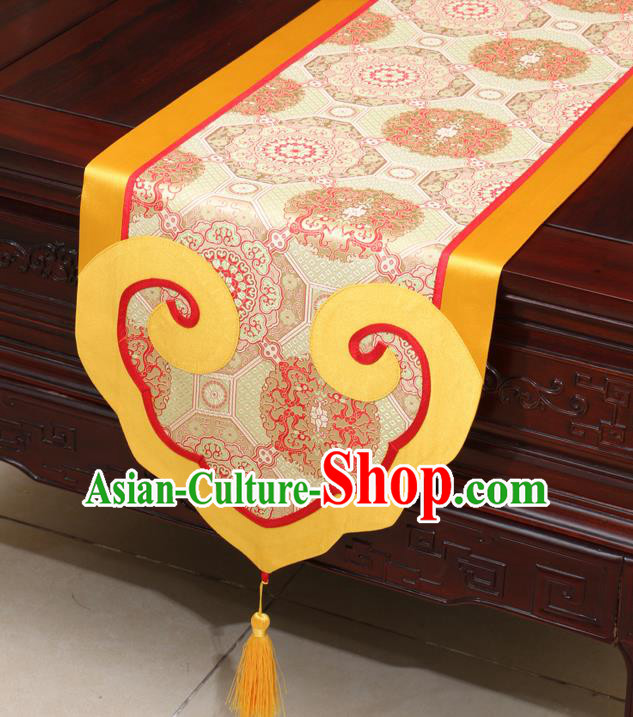 Chinese Classical Dragon Pattern Golden Satin Table Flag Traditional Brocade Household Ornament Table Cover