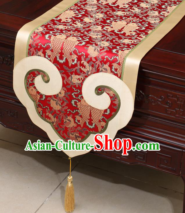 Chinese Classical Double Fishes Pattern Red Satin Table Flag Traditional Brocade Household Ornament Table Cover