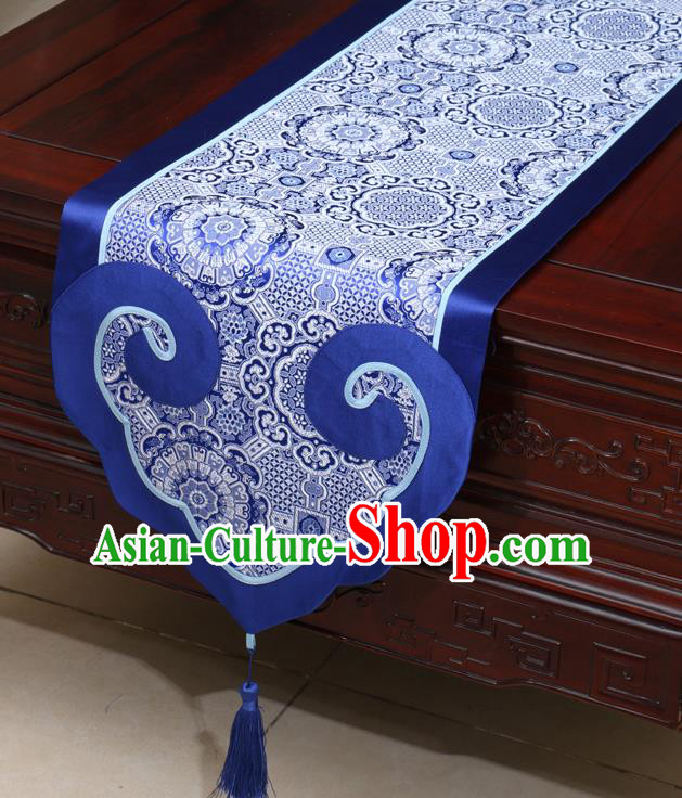 Chinese Classical Pattern Royalblue Satin Table Flag Traditional Brocade Household Ornament Table Cover