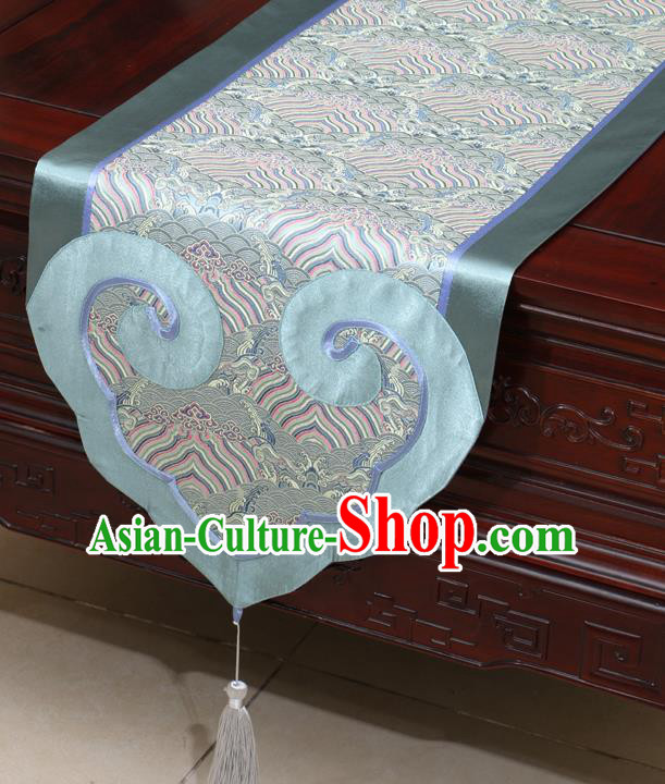 Chinese Classical Wave Pattern Blue Satin Table Flag Traditional Brocade Household Ornament Table Cover