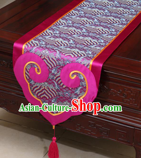 Chinese Classical Wave Pattern Rosy Satin Table Flag Traditional Brocade Household Ornament Table Cover
