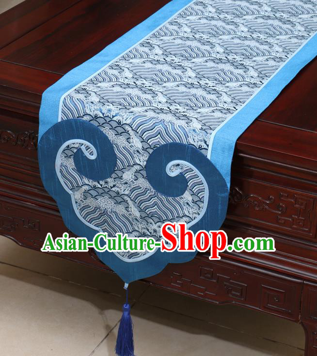 Chinese Classical Pattern Blue Satin Table Flag Traditional Brocade Household Ornament Table Cover