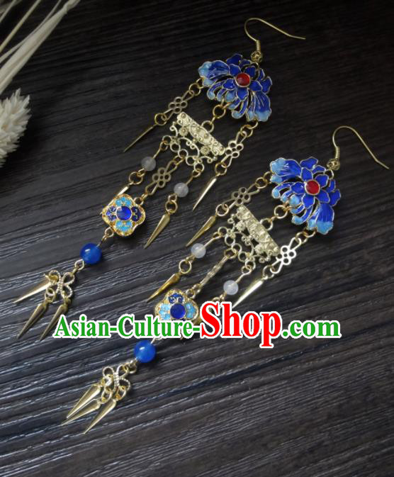 Chinese Ancient Palace Jewelry Accessories Traditional Classical Hanfu Blueing Lotus Tassel Earrings for Women