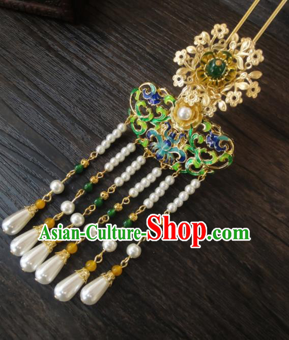 Chinese Ancient Palace Hair Accessories Traditional Classical Pearls Tassel Step Shake Hairpins for Women