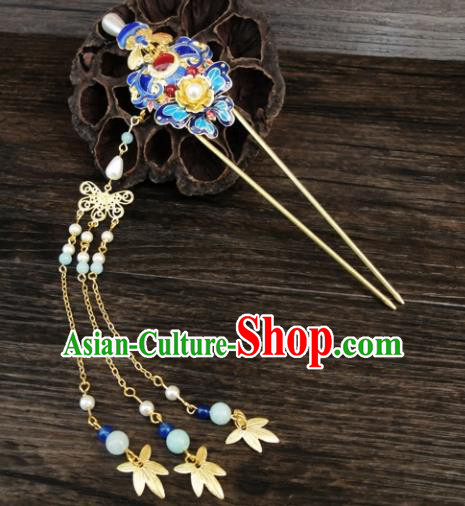 Chinese Ancient Palace Hair Accessories Traditional Classical Tassel Step Shake Blueing Hairpins for Women