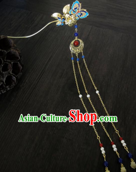 Chinese Ancient Palace Blueing Butterfly Hair Clips Hair Accessories Traditional Classical Tassel Hairpins for Women