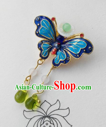 Chinese Ancient Palace Jewelry Accessories Traditional Classical Blueing Butterfly Tassel Brooch for Women