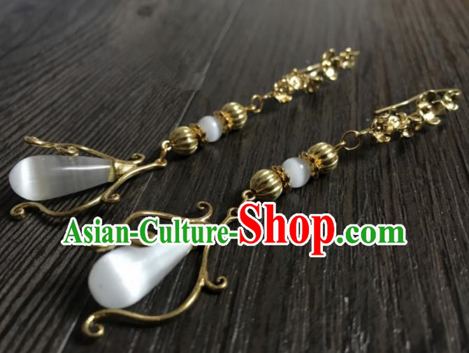 Chinese Ancient Jewelry Accessories Traditional Classical Hanfu Opal Earrings for Women