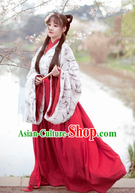 Traditional Chinese Ancient Hanfu Dress Jin Dynasty Aristocratic Lady Historical Costume for Women