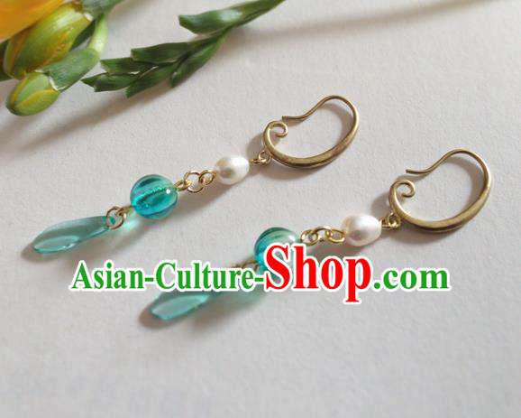 Chinese Ancient Hanfu Jewelry Accessories Traditional Pearl Green Earrings for Women
