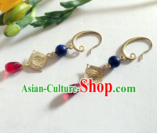 Chinese Ancient Hanfu Jewelry Accessories Traditional Golden Earrings for Women