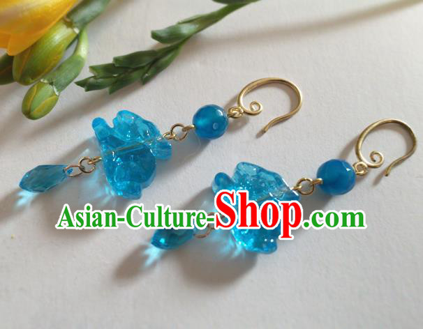 Chinese Ancient Hanfu Jewelry Accessories Traditional Blue Rabbit Earrings for Women