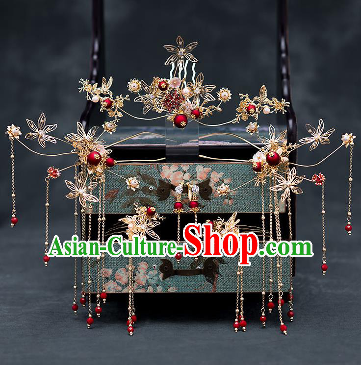 Chinese Ancient Hanfu Wedding Hair Accessories Traditional Bride Tassel Hairpins Hair Combs for Women