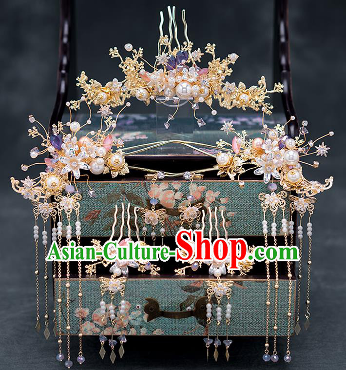 Chinese Ancient Wedding Hair Accessories Traditional Bride Hanfu Tassel Hairpins Hair Combs for Women