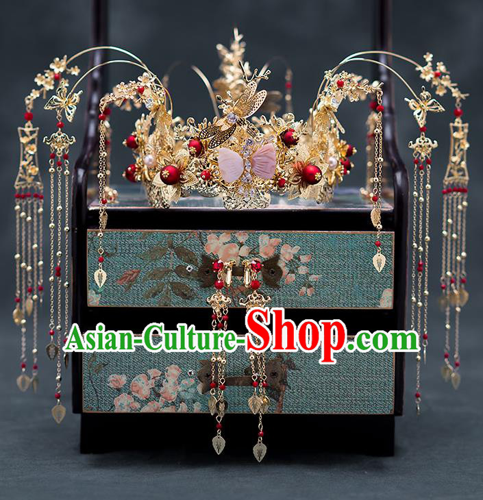Chinese Ancient Wedding Hair Accessories Traditional Bride Hanfu Hairpins Tassel Phoenix Coronet for Women