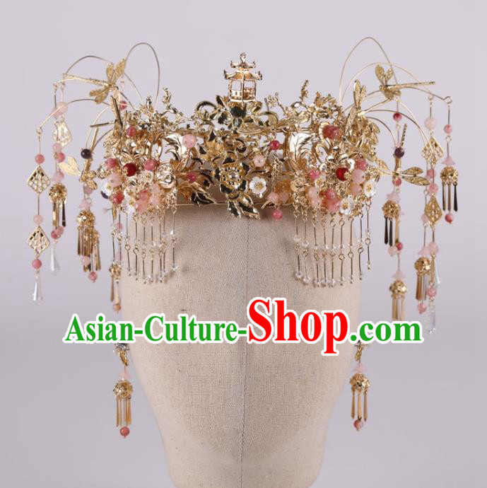 Chinese Ancient Palace Hair Accessories Traditional Wedding Hanfu Hairpins Tassel Phoenix Coronet for Women
