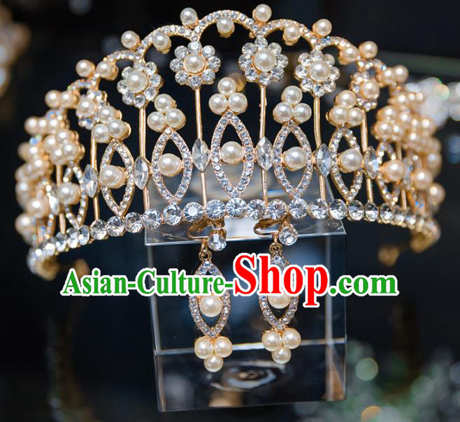 Handmade Baroque Hair Accessories Wedding Queen Crystal Royal Crown for Women