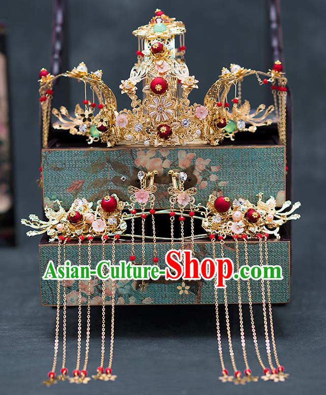 Chinese Ancient Wedding Hair Accessories Traditional Hanfu Hairpins Palace Phoenix Coronet for Women