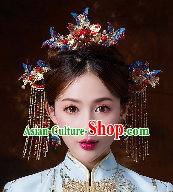 Chinese Ancient Queen Blue Butterfly Phoenix Coronet Hair Accessories Traditional Hanfu Tassel Hairpins for Women