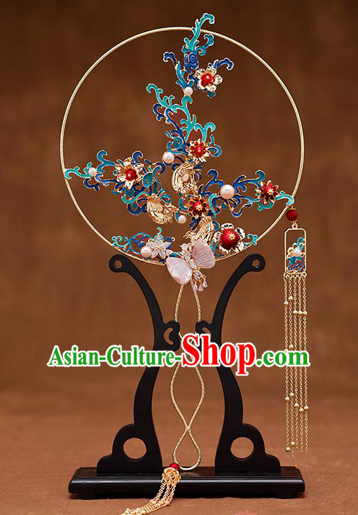 Chinese Ancient Bride Accessories Traditional Wedding Classical Blueing Palace Fans for Women