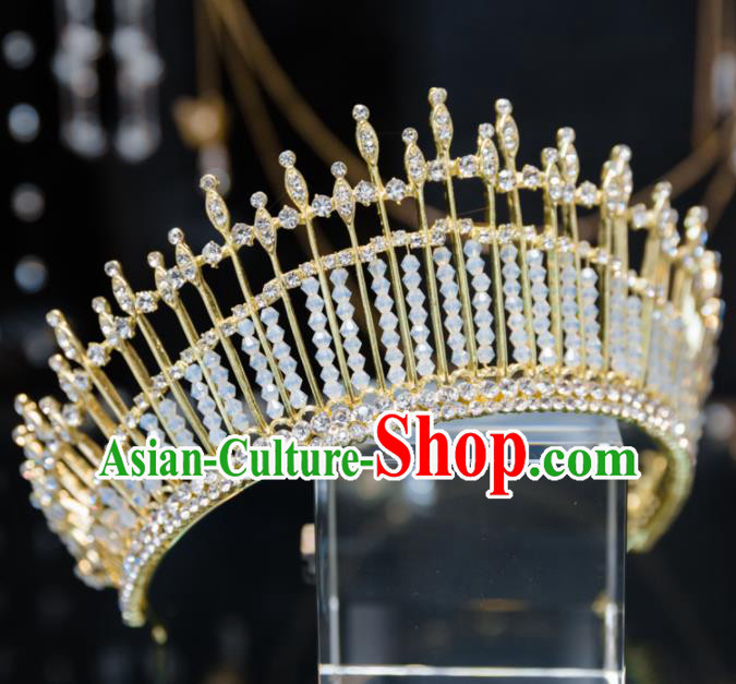 Handmade Baroque Hair Accessories Wedding Queen Crystal Beads Royal Crown for Women