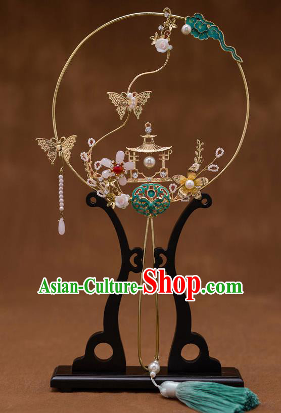 Chinese Ancient Bride Blueing Round Fans Traditional Wedding Classical Palace Fans for Women
