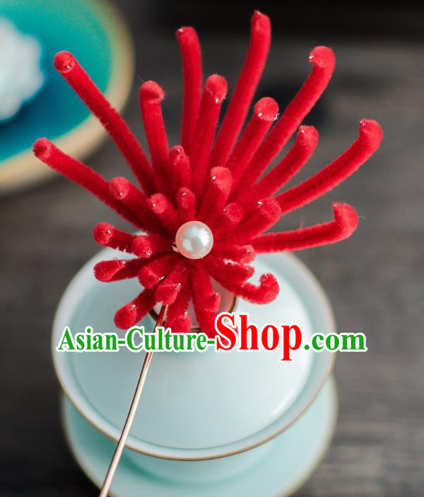 Chinese Ancient Queen Hair Accessories Traditional Hanfu Red Chrysanthemum Hairpins for Women
