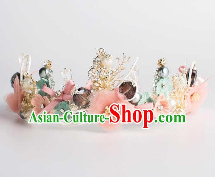 Handmade Wedding Hair Accessories Baroque Queen Pink Silk Flowers Royal Crown for Women