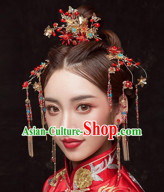 Chinese Ancient Queen Tassel Step Shake Hair Accessories Traditional Hanfu Hairpins for Women