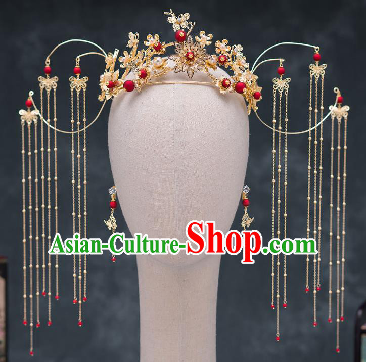 Chinese Ancient Queen Hair Accessories Tassel Phoenix Coronet Traditional Hanfu Hairpins for Women