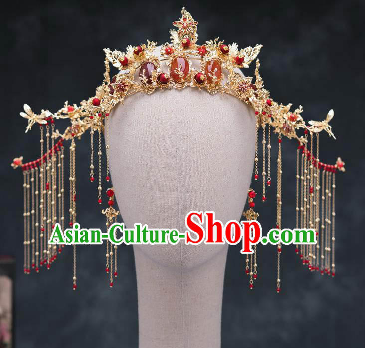 Chinese Ancient Bride Hair Accessories Wedding Agate Phoenix Coronet Traditional Hanfu Hairpins for Women
