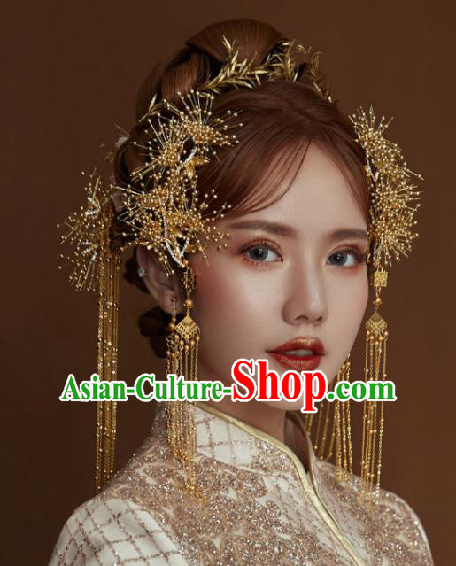 Chinese Ancient Palace Hair Accessories Traditional Wedding Hanfu Hairpins Tassel Step Shake for Women