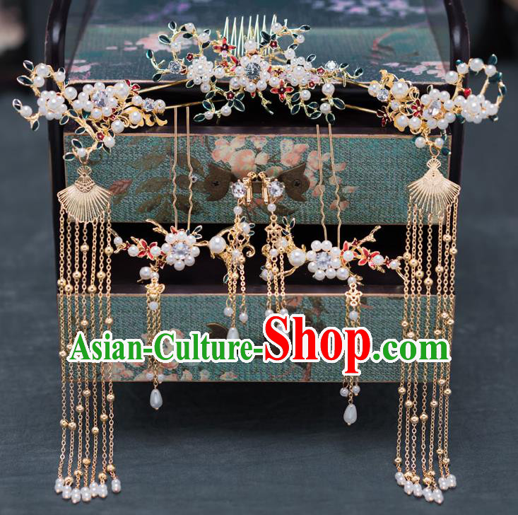 Chinese Ancient Bride Hair Accessories Wedding Hair Comb Traditional Hanfu Tassel Hairpins for Women