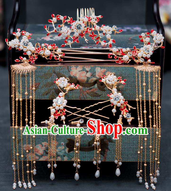 Chinese Ancient Bride Hair Accessories Traditional Wedding Red Hair Comb Hanfu Tassel Hairpins for Women