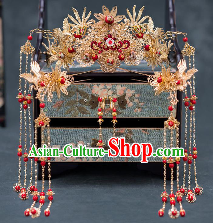 Chinese Ancient Palace Hair Accessories Traditional Wedding Hanfu Hairpins Cloisonne Phoenix Coronet for Women