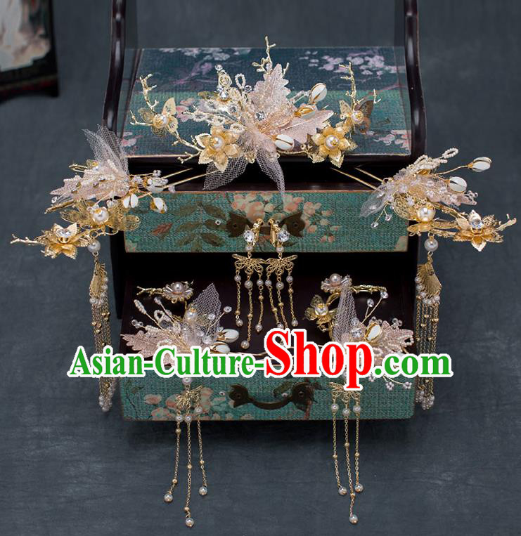 Chinese Ancient Wedding Pink Flowers Hairpins Traditional Bride Palace Hair Accessories for Women