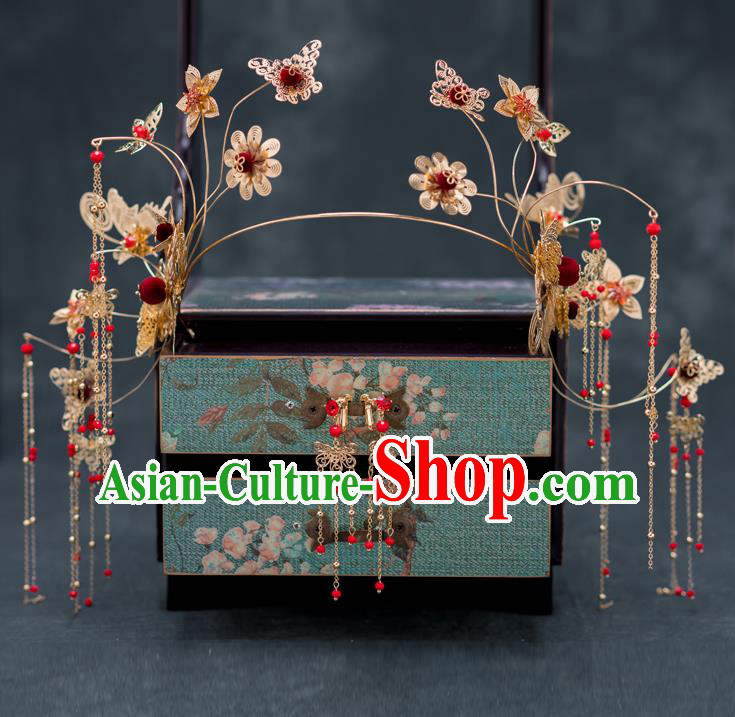 Chinese Ancient Wedding Butterfly Tassel Hair Clasp Hairpins Traditional Bride Palace Hair Accessories for Women