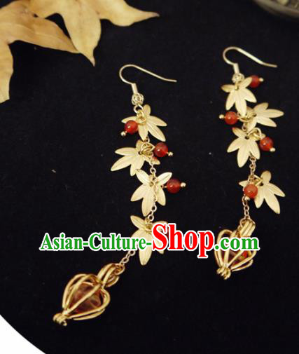 Chinese Ancient Hanfu Jewelry Accessories Traditional Wedding Golden Maple Leaf Tassel Earrings for Women