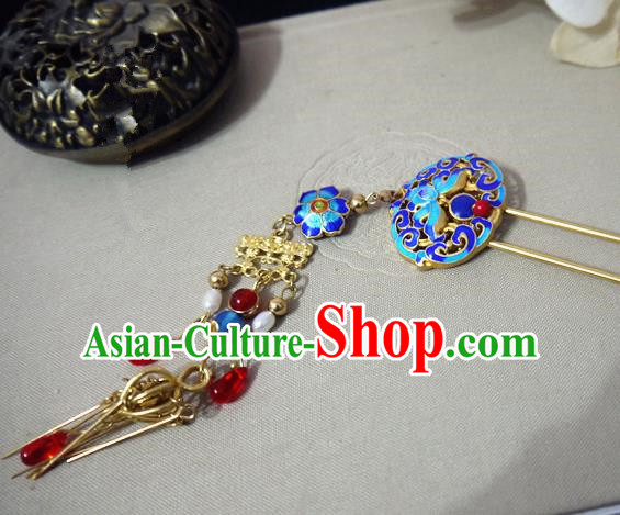 Chinese Ancient Hair Accessories Traditional Bride Hanfu Blueing Tassel Hairpins for Women