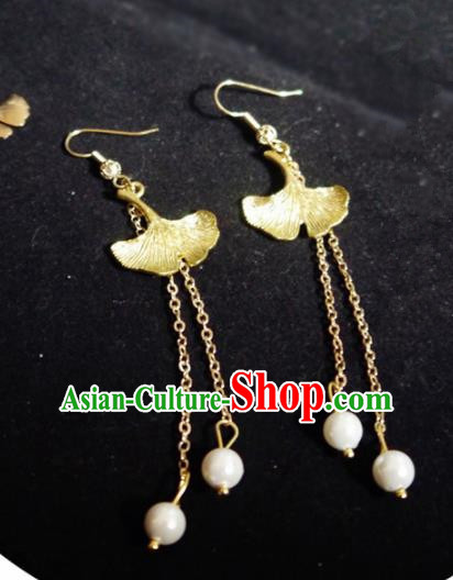 Chinese Ancient Hanfu Jewelry Accessories Traditional Wedding Golden Ginkgo Leaf Earrings for Women
