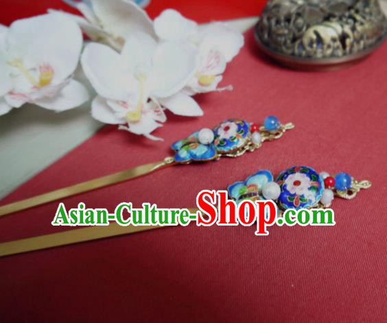 Chinese Ancient Hair Accessories Traditional Bride Hanfu Blueing Butterfly Hairpins for Women